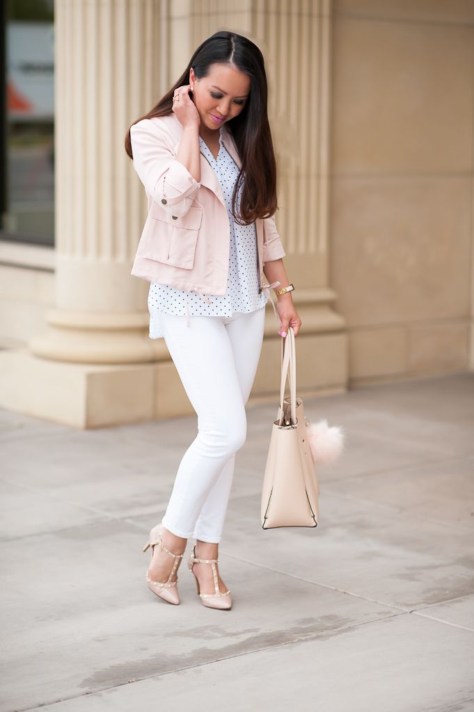 Ann Taylor signature blush tote, Kate Spade bow watch, Pom pom clip, Vince Camuto POLKA DOT PLEAT FRONT V-NECK BLOUSE
