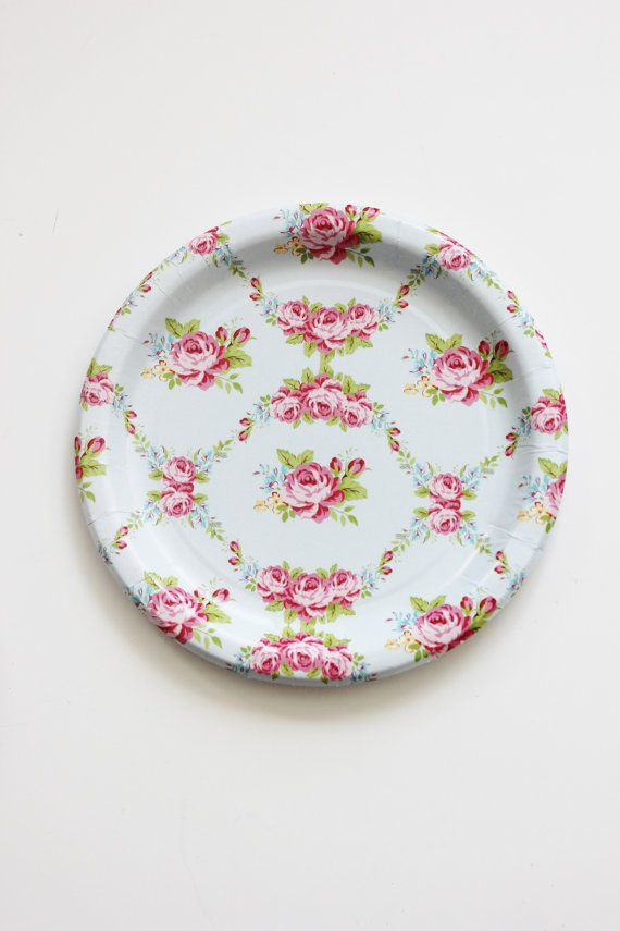 30 FLORAL TEA PARTY Paper Plates Parisian Vintage Style Shabby Chic Cottage Garden Tea Time Light Baby Blue Pink Rose Roses French English
