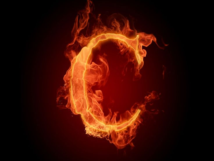 The fiery English alphabet picture C resolution 1920x1440