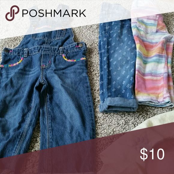 Toddler girl pants All 2t, overall pants are genuine osh gosh, rainbow are heidi klum kids brand (jeggings ),  other is old navy Osh Kosh Bottoms Jeans