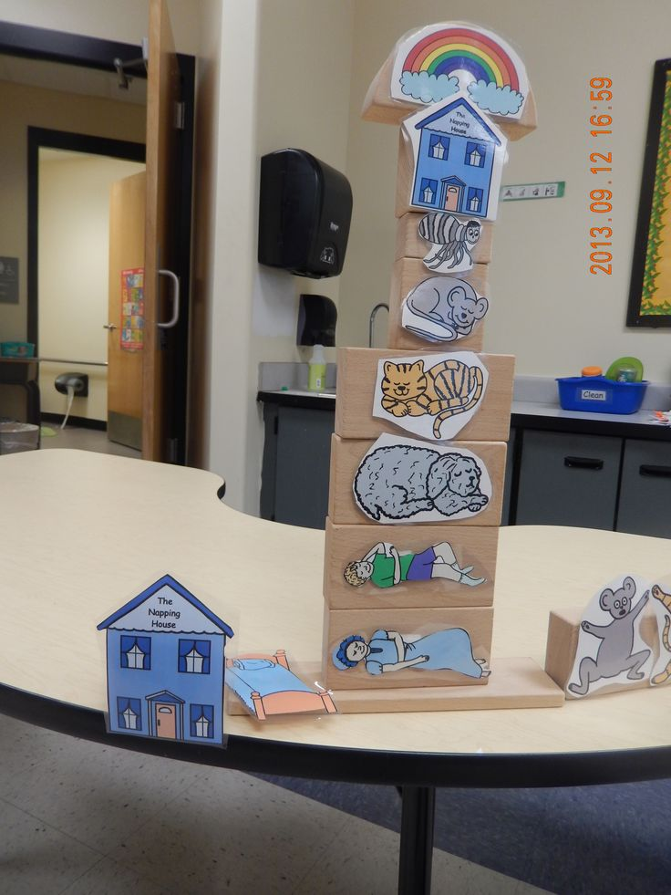 The Napping House on building blocks to help with sequencing, and story retelling.  I used velcro to reuse the blocks for our next preschool story.