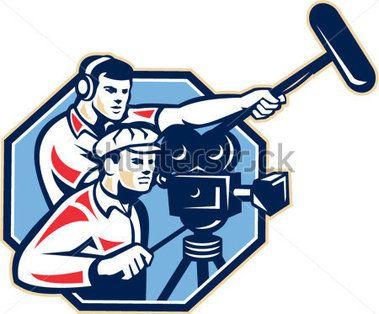 레트로 스타일 망원경 마이크 붐 들고 헤드폰으로 빈티지 영화 영화 카메라와 soundman 작업자와 카메라 맨의 그림.