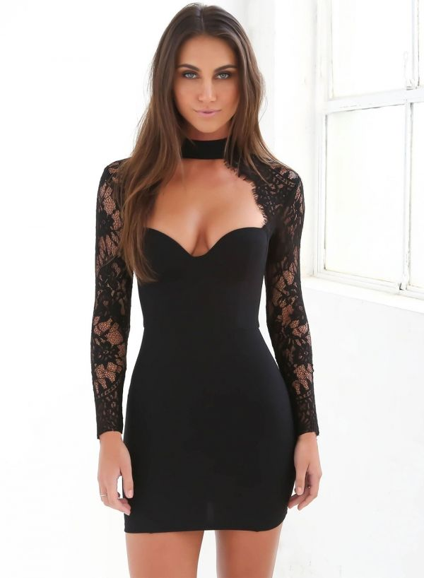 Women s V Neck Long Sleeve Lace Bodycon Midi Dress - ROAWE.COM ... c65ca10b9