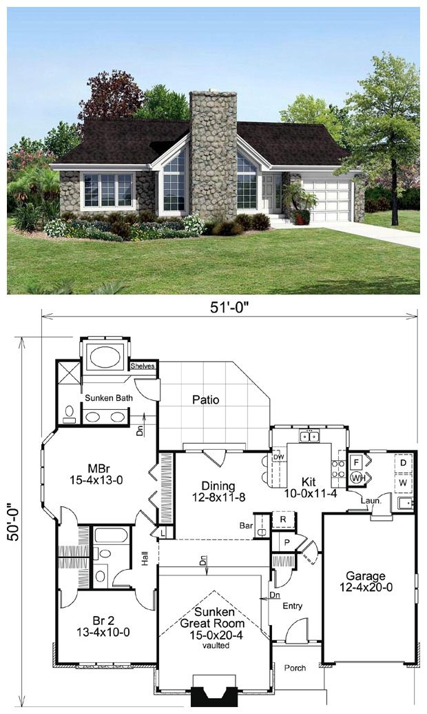 Ranch Style House Plan 87814 With 2 Bed 2 Bath 1 Car Garage Empty Nester House Plans Dream House Plans Ranch Style House Plans