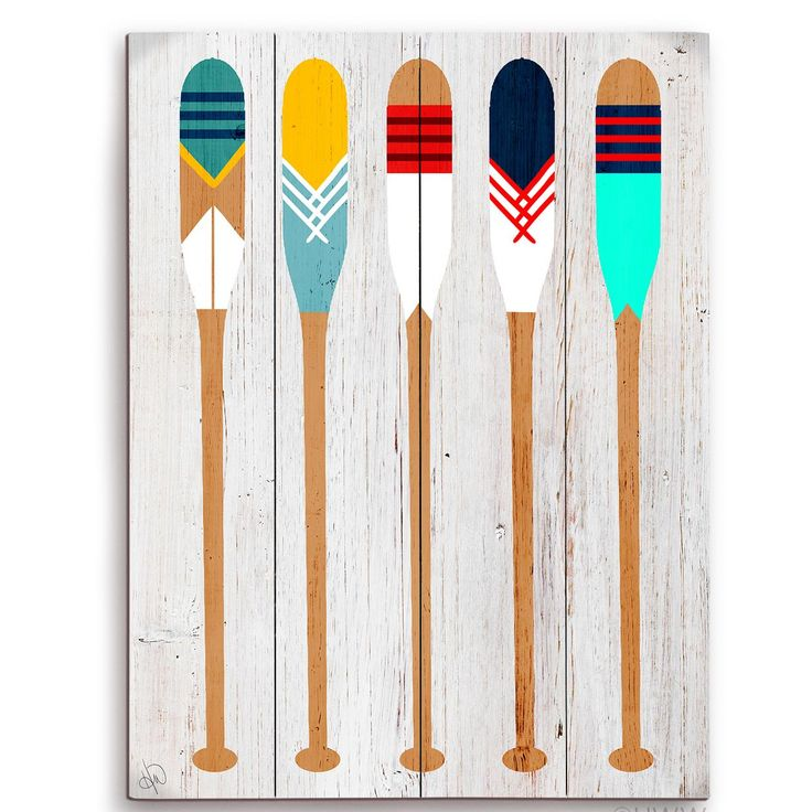 Click Wall Art Colorful Canoe Paddle Graphic Art on Distressed Wood                                                                                                                                                     More