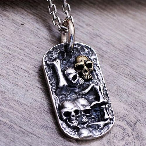 """Men's Sterling Silver Skulls Tag Necklace with Sterling Silver Anchor Link Chain 18""""-30"""""""