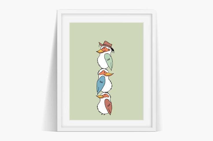 Kookaburra Art Kids Nursery Wall Art Print by Sian Whitehall. Instant Download Now!