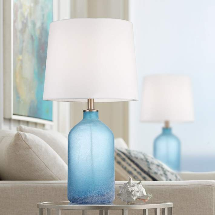 Aston Blue Frosted Glass Table Lamps Set Of 2 14x86 Lamps Plus Blue Glass Lamp Art Glass Table Lamp Bedroom Night Stands