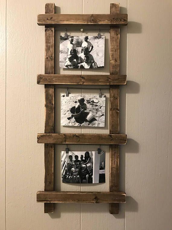 Rustic Photo Holder, Head Photo Holder, Ladder Decor, Rustic Decor, Ba
