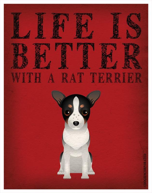 Life is Better with a Rat Terrier Art Print 11x14 - Custom Dog Print. $29.00, via Etsy.