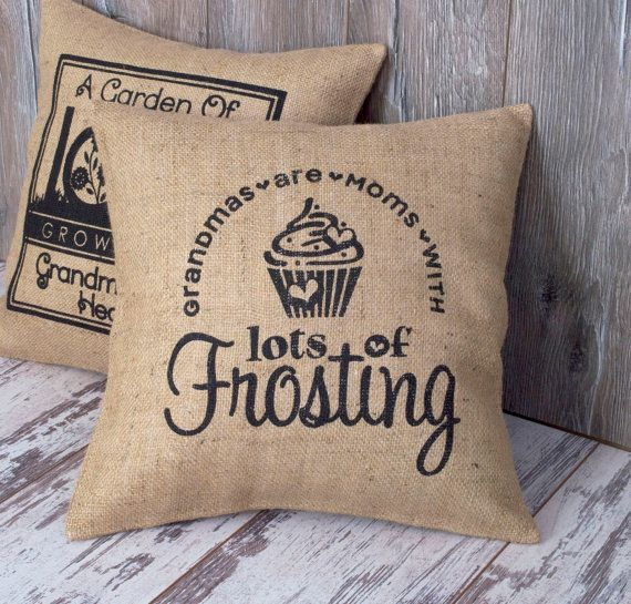 Burlap Pillows Covers - Grandma Gift Decorative Throw Pillow Unique Monogrammed Gifts Words Jute Burlap - Accent Pillow Cover