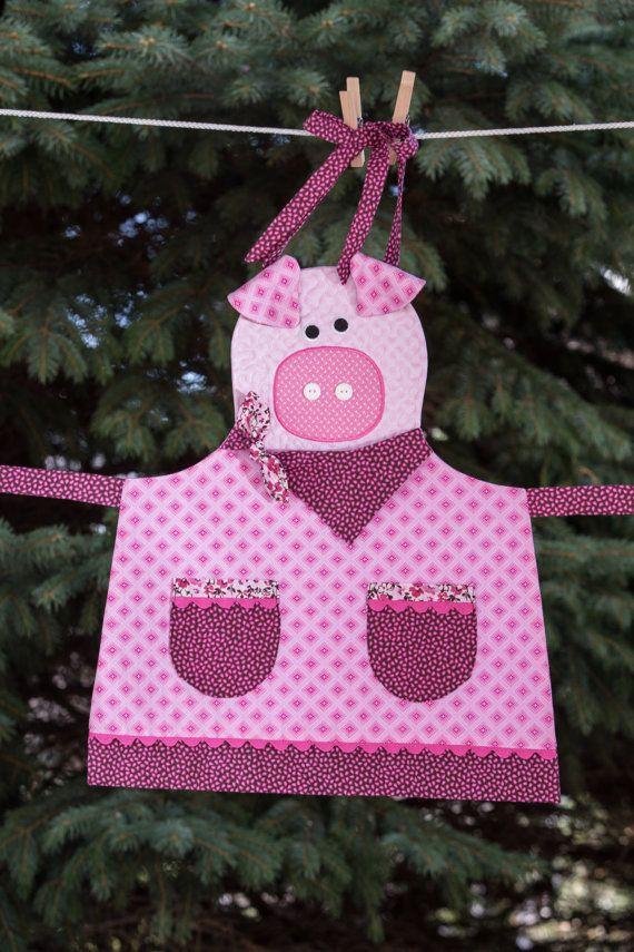 Infantil acolchado rosa delantal guarro por NorahJanes en Etsy