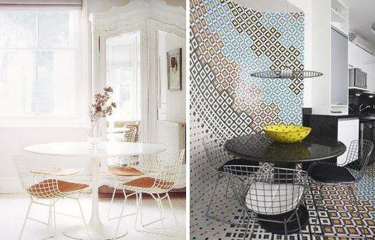 Mesas redondas com cadeiras cromadas