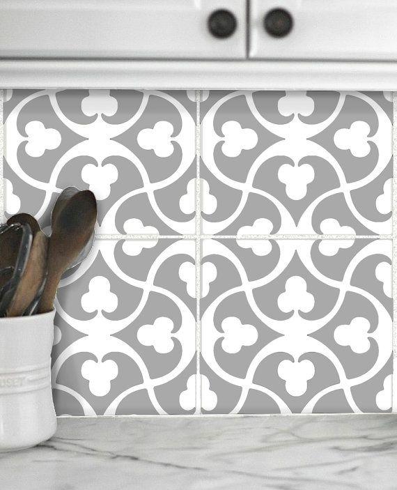 Tile Decals Stickers For Kitchen Backsplash Floor Bath Removable Waterproof Bx310g Grey White