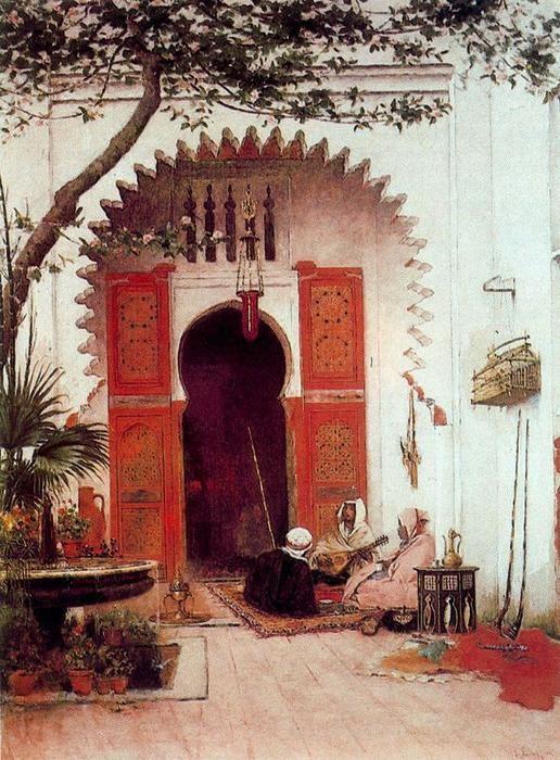 'Three Arabs In A Courtyard', Oil by Alberto Pasini (1826-1899, Italy)