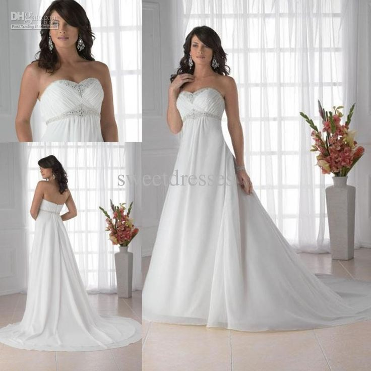 White Chiffon Beach Wedding Dresses Sweetheart A Line With Beads Sash Chapel Train Zipper Backless Maternity Bridal Gown Zahy679