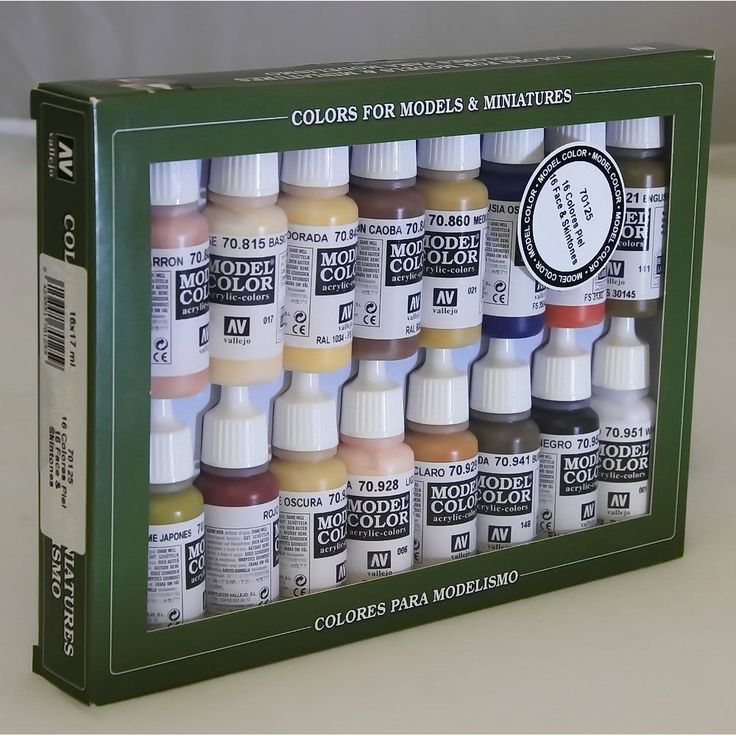 VALLEJO 70125 FACE & SKINTONES 16 COLOUR ACRILIC PAINT SET