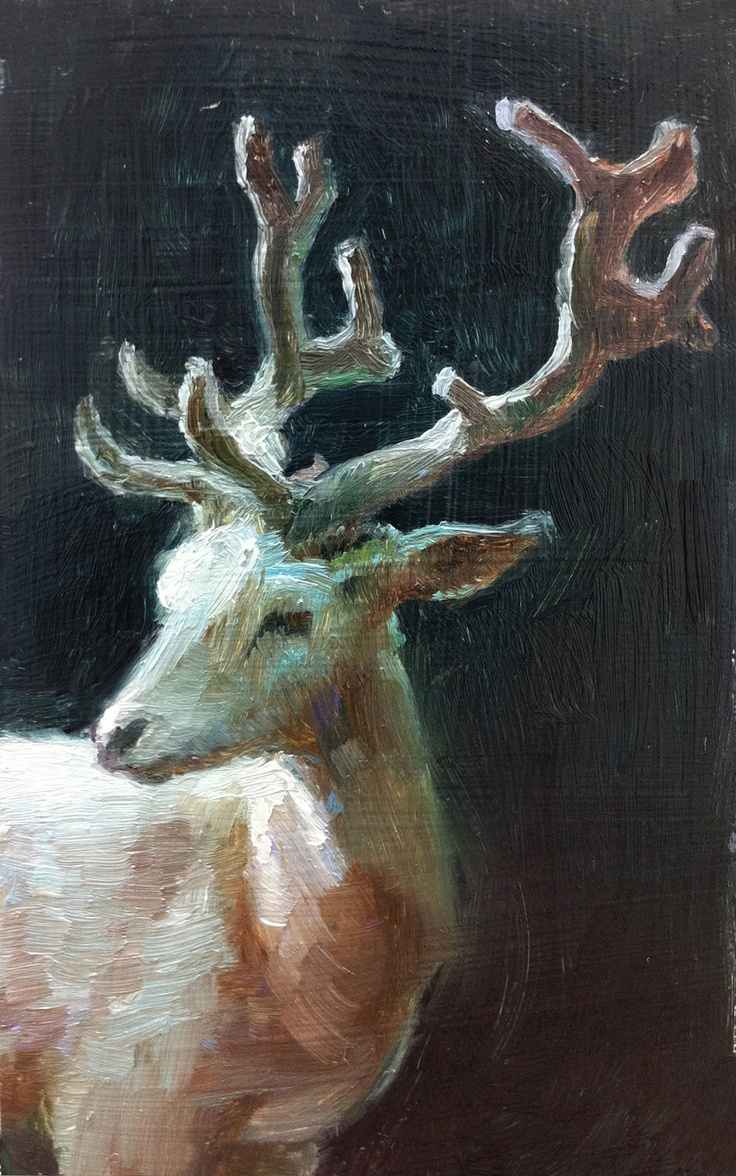 Beautiful Elegant Magical White Stag - Open Edition Print of an original tiny oil painting.