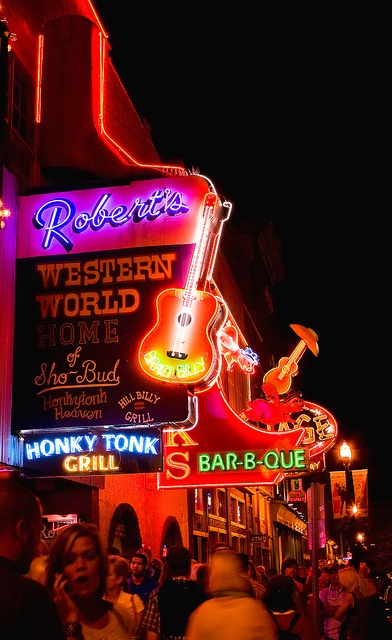 honky tonk row in Nashville- Roberts Western world, Paradise Park Trailer Resort (cheap eats), and Patterson House