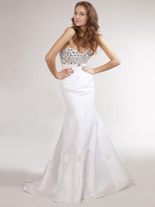 White Empire Mermaid Long Prom Dress