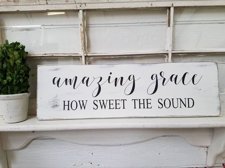 Amazing Grace Sign, Rustic Wood Sign, Farmhouse Style Sign, Wooden Sign, Wall Decor, Wall Hanging by ShabbyandSuchDesigns on Etsy https://www.etsy.com/listing/540421739/amazing-grace-sign-rustic-wood-sign