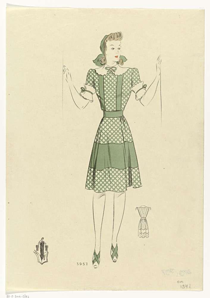 Anonymous | Vrouw met groene jurk, ca. 1942, No. 3957, Anonymous, c. 1942 | Jonge vrouw in groen geruite jurk tot op de knie, korte mouwen tot de elleboog. Wit kraagje en witte manchetten. Schoenen met hoge hakken en kruisbanden over de wreef.