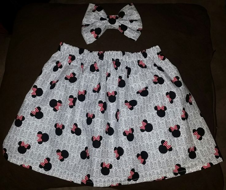 minnie mouse print fabric bow and skirt by lilbeautysbowtique on Etsy