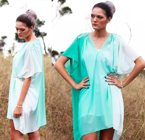 $100 NZD  Angel Wings Couture Kaftan  Easy, breezy and floaty.  Aqua tones of the chiffon fade into a wing of white. Subtle details such as the beaded shoulders and side gives this angel garment effortless elegance.