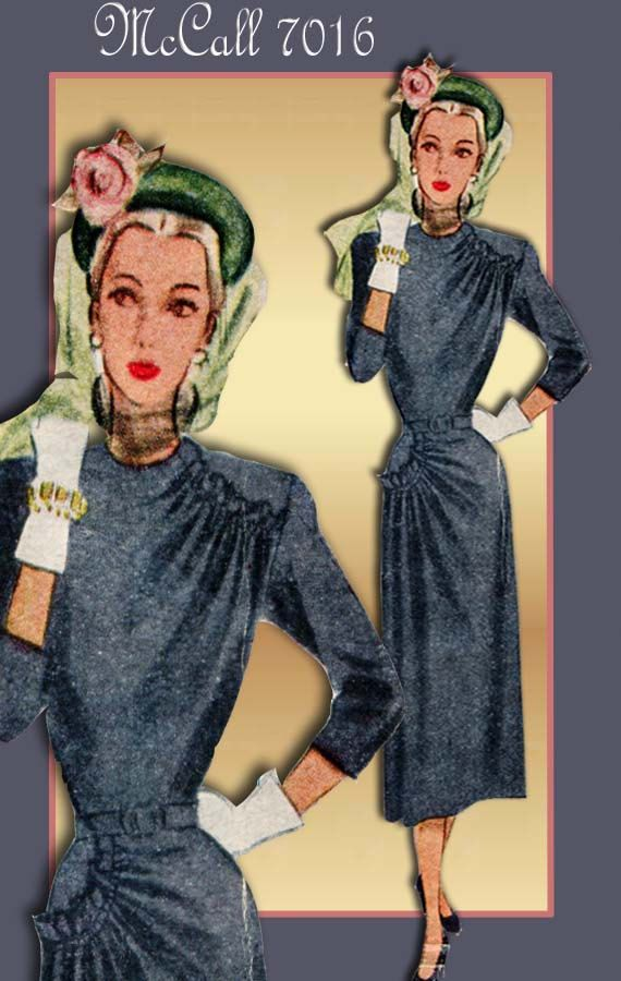 Vintage Dress Pattern McCall 7016 1940s Day Dress with Asymmetrical Styling