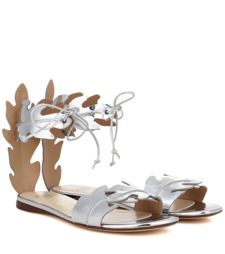 Francesco Russo - Metallic leather sandals - Francesco Russo's standout sandals have been crafted from shiny metallic leather – the flat sole and the embellished elements add a sophisticated note. Wear yours with midi skirts and cropped denim alike. seen @ www.mytheresa.com