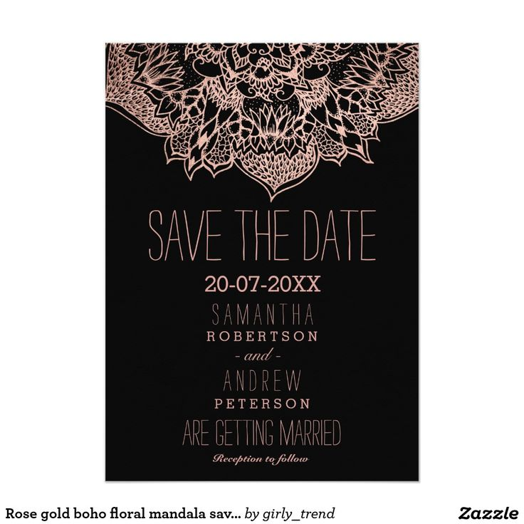 Rose gold boho floral mandala save the date 5x7 paper invitation card