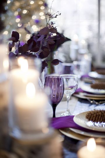 Photo by Chudleigh Photography (www.chudleighweddings.com)Chudleigh Photography, Tables Sets, Tables Scapes, Winter Colors, Colors Schemes, Purple Winter Wedding, Wine Glasses, Colours Palettes, Purple Glasses