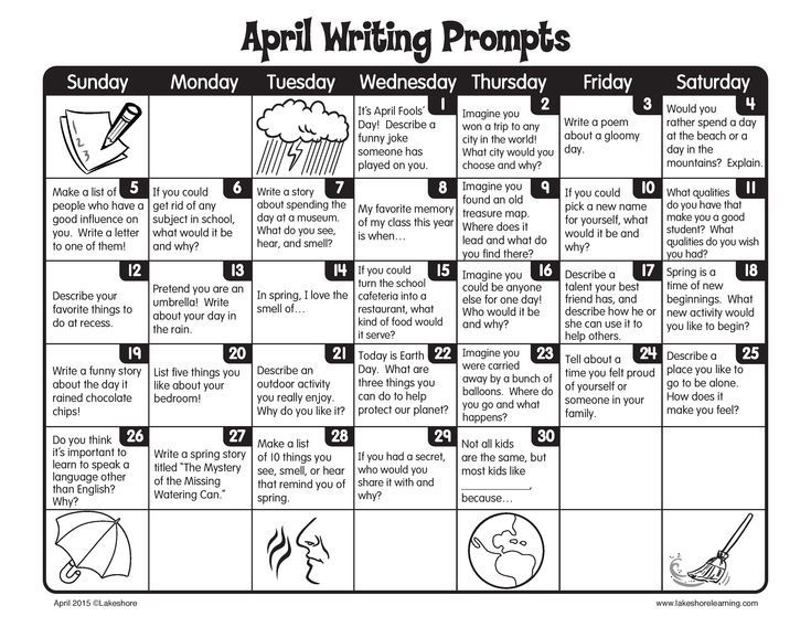 April showers bring new daily writing prompts!