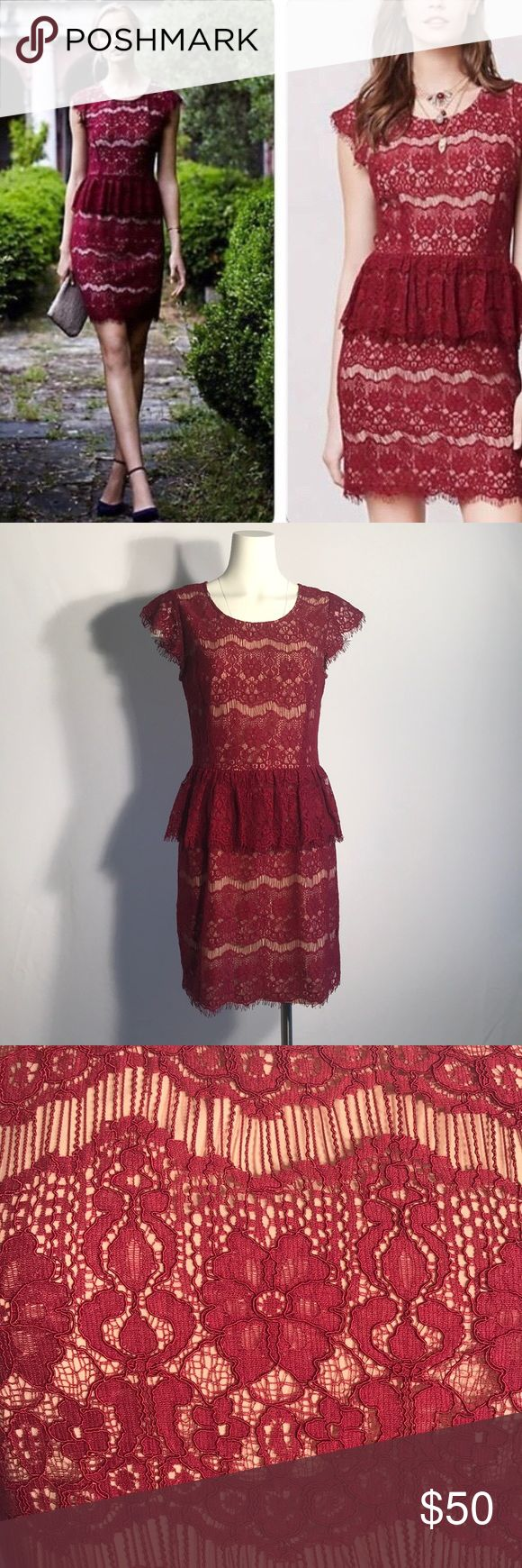 Anthropologie Maroon Red Peplum Dress Anthropologie Maeve Peplum Dress. Lace overlay on a beige lining. Last picture demonstrated best color of the dress. Approx 35 inch length.  Armpit to Armpit is approx 17.5 inches.  Waist (right above Peplum) approx 15 inches. Zipper down the back of the dress. Anthropologie Dresses