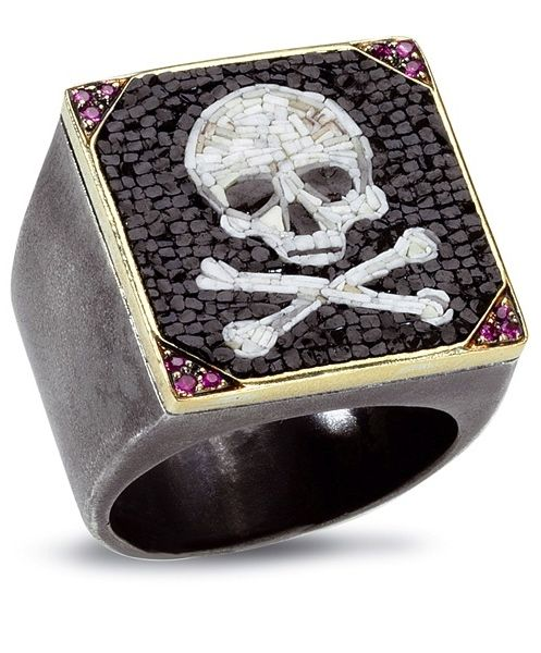 ☆ Skull-Q Ring » A Bold Skull Micromosaic is Accented with 0.15 cts. t.w. Ruby Corners and 18k Yellow Gold in this Ring Crafted of Sterling Silver :¦: Shop: JCK Marketplace☆