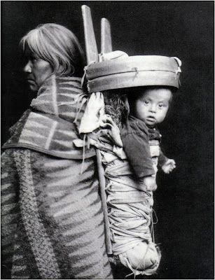 Navajo Indian carrying baby, c. 1905-20, William Pennington and Lisle Updike, Durango, Colorado