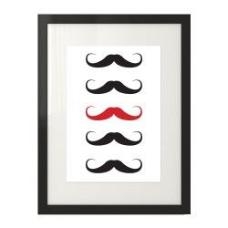 Grafika na ścianę z linią utworzoną z czarnych wąsów, który jeden po środku jest czerwony