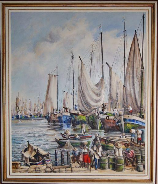 """F.PINHEIRO """"Barcos"""" óleo sobre tela, pintura de grande dimensão, assinada e ricamente emoldu"""