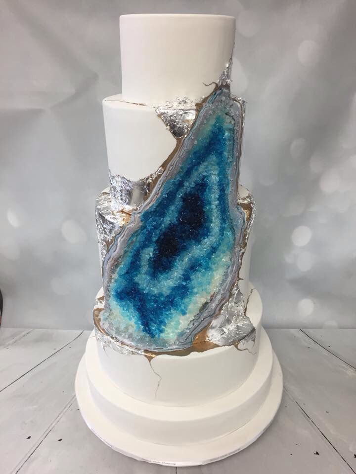 Whisk Cake Company Blue Geode Cake #geodcake