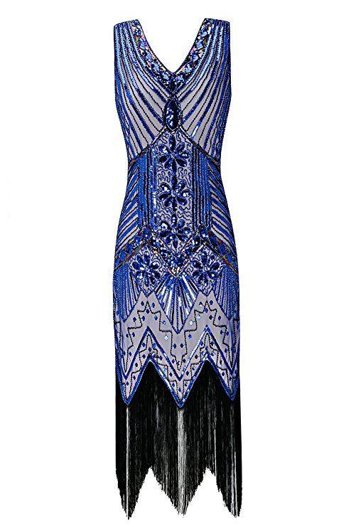 e74a92c2c25e Metme Women s 1920s V Neck Beaded Fringed Gatsby Theme Flapper Dress For  Prom