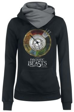 "- Women's hooded sweater with shawl collar - Front and sleeve print - Kangaroo pocket - Ribbed cuffs/hem  The hooded sweater with cuddly shawl collar helps you recognise dangers instantly. The print on the front shows the Magical Exposure barometer out of the Hogwarts textbook ""Fantastic Beasts And Where To Find Them"". It measures the degree of the current threat in 7 levels: 0 stands for no danger, 3 for high alarm level and 7 for emergency. So you will know when you need that Protego…"