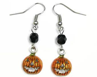 Halloween zucca orecchini con perle di vetro nero - Lanterna gotica Goth