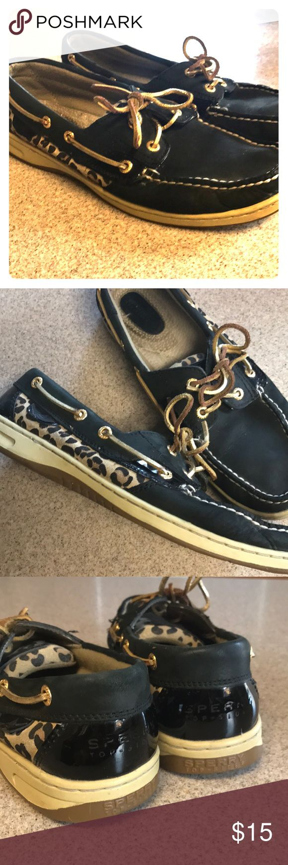 Black/Leopard Sperrys Who doesn't love leopard print?! These authentic leather upper Sperrys are the perfect boat shoe to add an extra bit of class to any outfit!!  Size 9.5 in good condition, lots of miles left in them! Sperry Shoes Flats & Loafers