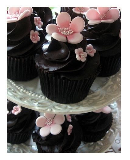chocolate cherry blossom cupcake
