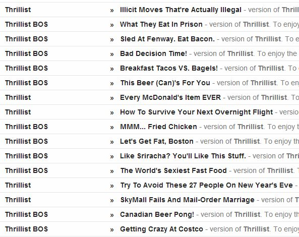 A Snapshot of Thrillist's Email Subject Lines. Perhaps there's a reason they have millions of subscribers?: Thrillist Email, Email Subject, Email Marketing