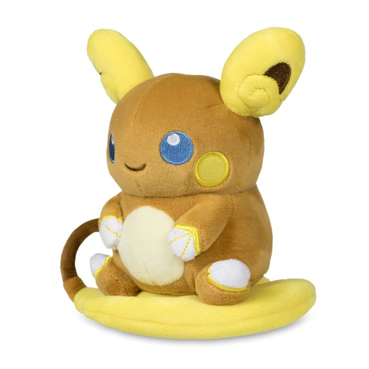 Official Alolan Raichu Pokémon Dolls Plush stands 6 inches tall, with big embroidered eyes and a surfboard tail. Pokémon Center Original design.