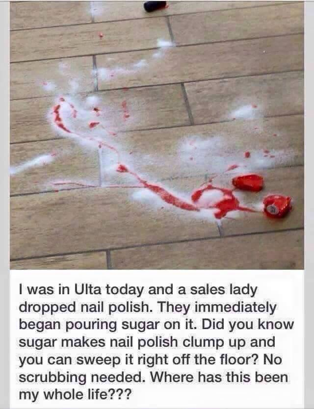 Cool tip for nail polish spills