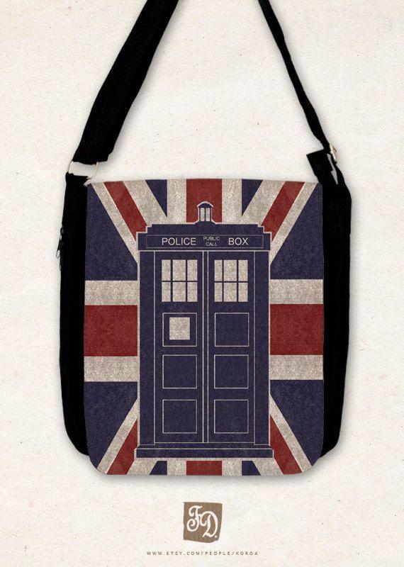 Doctor Who TARDIS - Big shoulder bag / union jack /. $43.00, via Etsy.