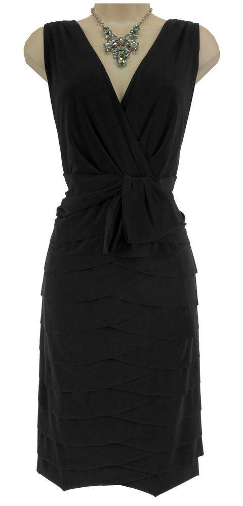20W 2X SEXY Womens BLACK TIERED COCKTAIL DRESS Sheath Evening Occasion PLUS SIZE #JonesWear #Tiered #LittleBlackDress