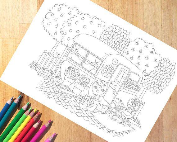 Vintage Caravan Coloring Page Printable Cottage Garden